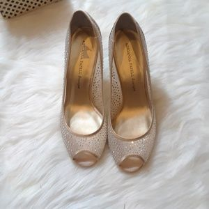 Adrianna Papell Sheer Gold and Crystal Pumps